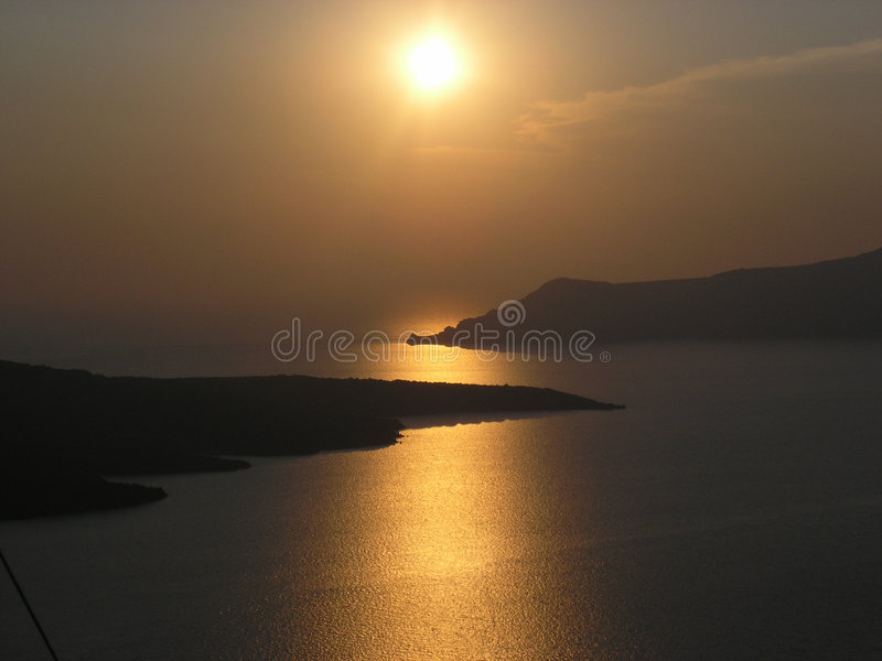 Sunset in Fira royalty free stock image