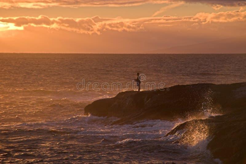 Sunset Fishing stock images