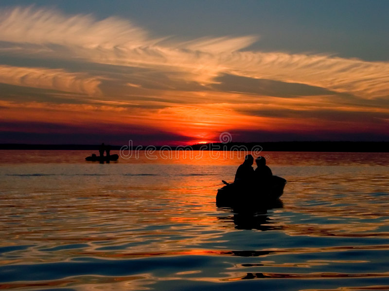 Download Sunset Fishing stock photo. Image of dusk, silhouette, peaceful - 502142