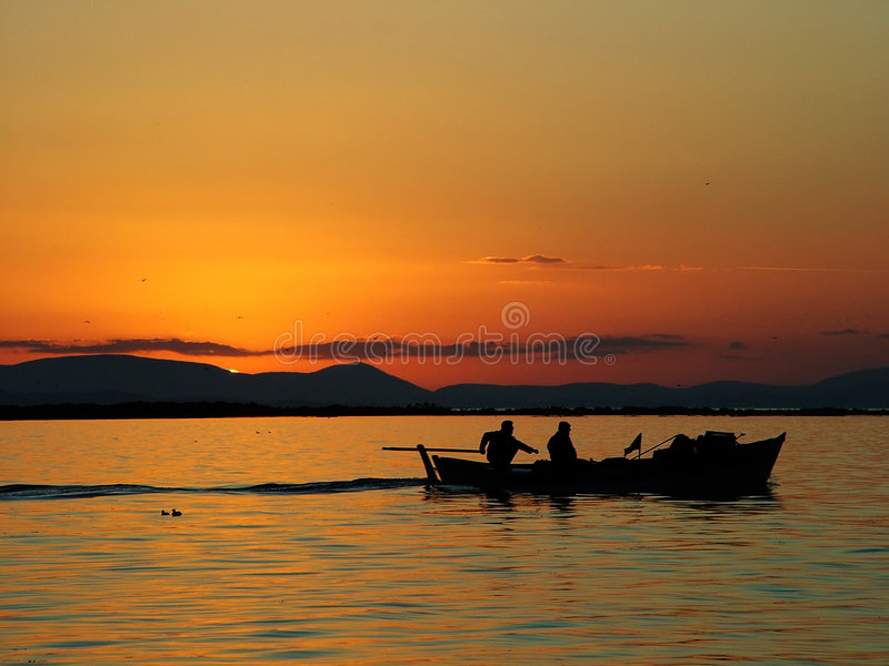 Sunset Of Fishing Royalty Free Stock Images