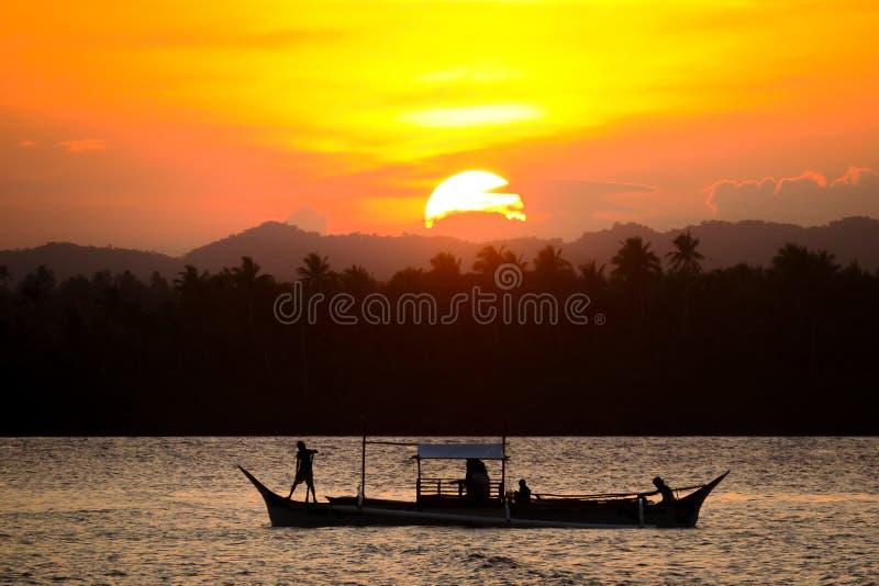 Sunset Fishing Boat royalty free stock photo