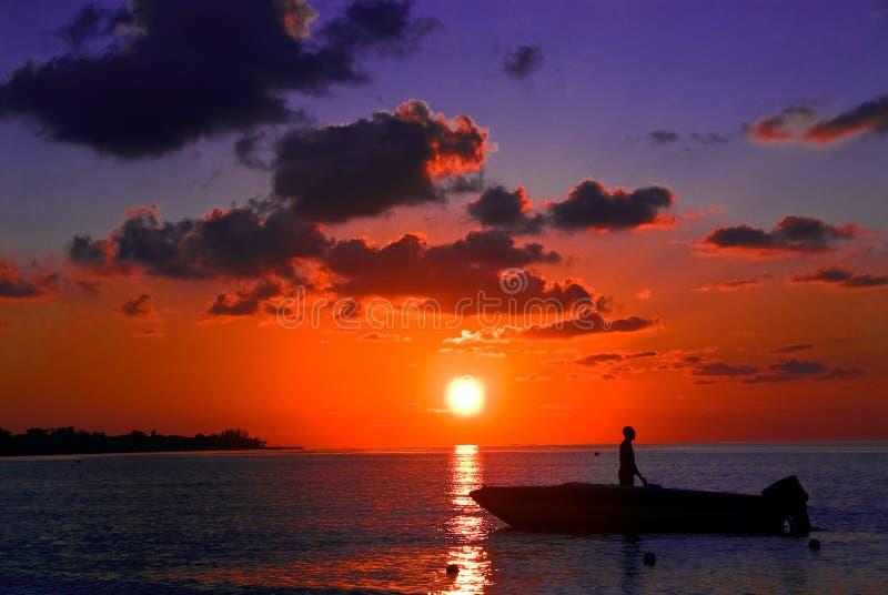 Sunset fishing, Jamaica, Negril royalty free stock photography
