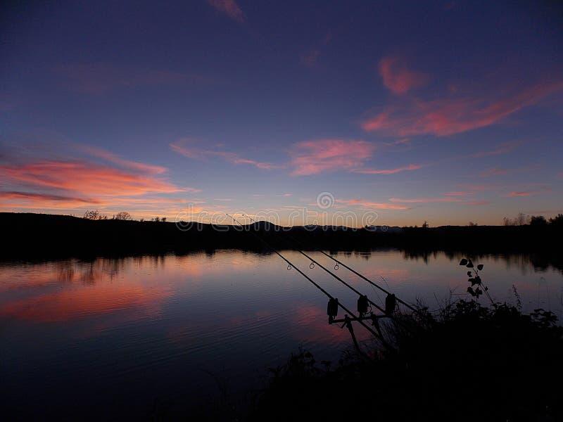 Sunset on fishing rods stock photos