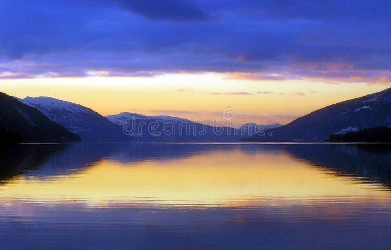 Sunset in the fjords of Norway stock image