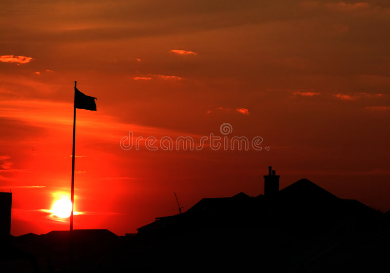 Sunset Flag stock photography