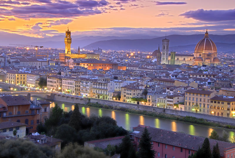 Sunset in Florence royalty free stock images