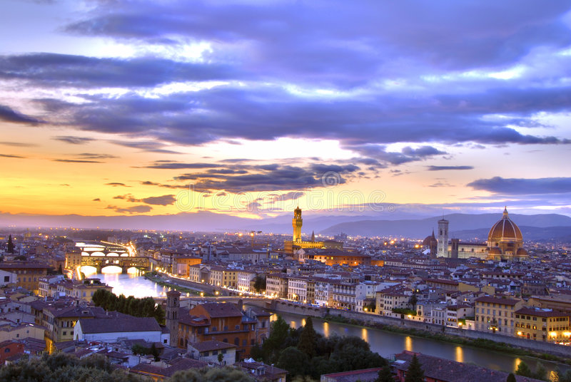 Sunset in Florence royalty free stock photography