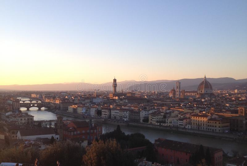 Sunset in Florence Italy stock images
