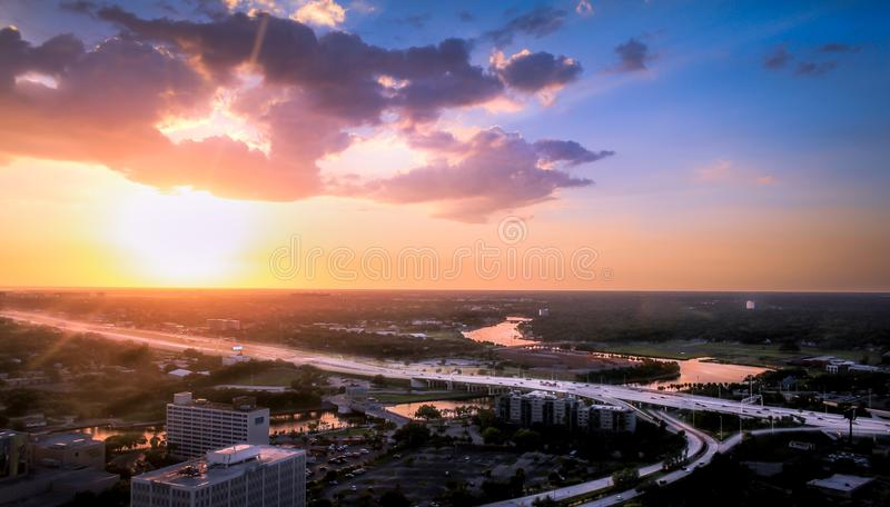 Sunset in Tampa Florida. TAMPA, FLORIDA - MARCH 12, 2016 - A sunset on March 12, 2016 in Tampa, Florida royalty free stock image
