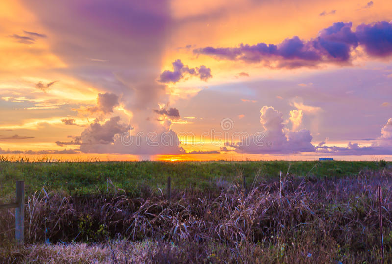 Sunset in the Florida Everglades with a rain cloud in the distance. royalty free stock images