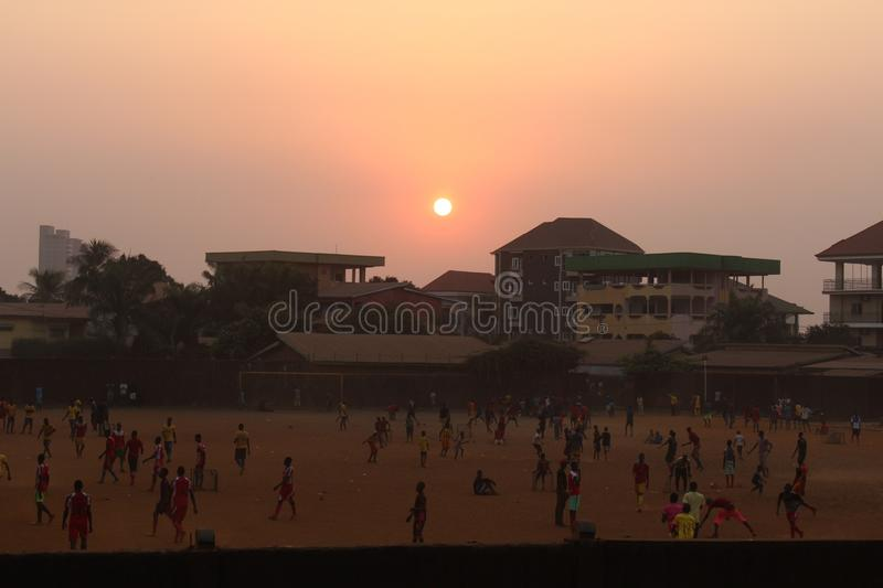 Sunset and football stock images