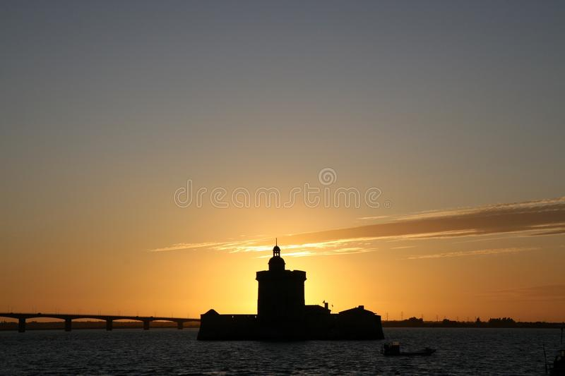 Sunset at Fort Louvois royalty free stock photos