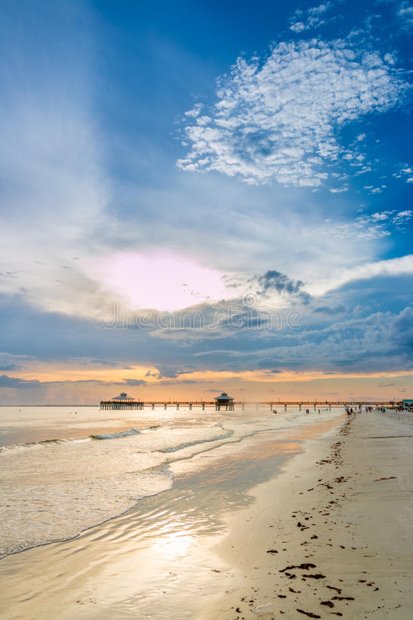 Sunset on Fort Myers Beach stock image
