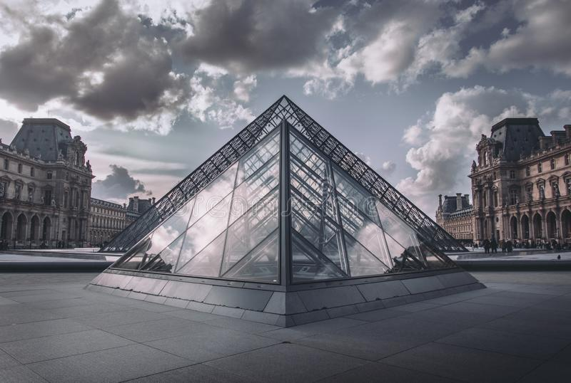 An admired sunset in the Louvre. royalty free stock image
