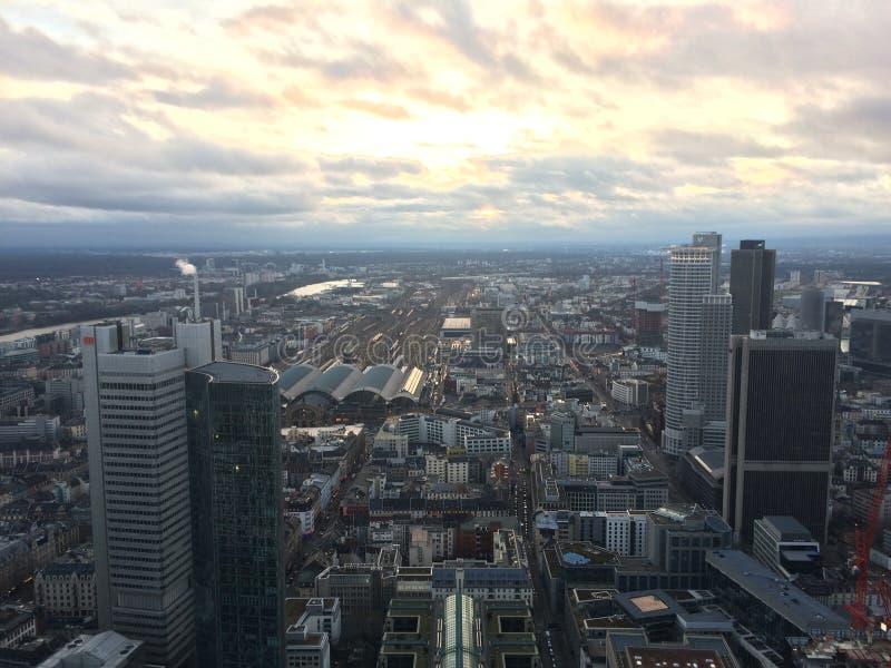 Sunset in Frankfurt stock photo