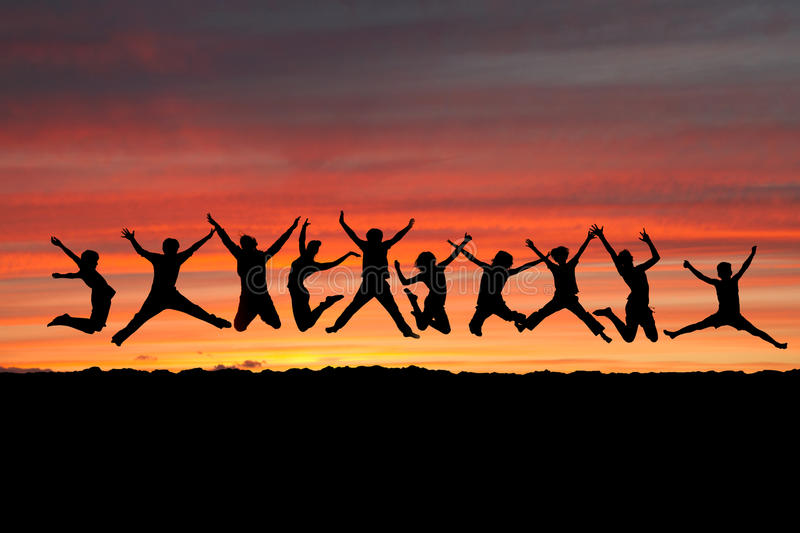 Sunset friends royalty free stock image