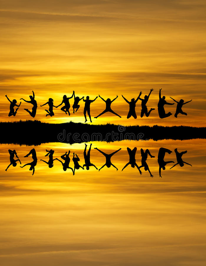 Sunset friends royalty free stock photos