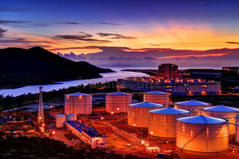 Sunset of fuel depot. Hong Kong International Airport near the fuel depot royalty free stock images