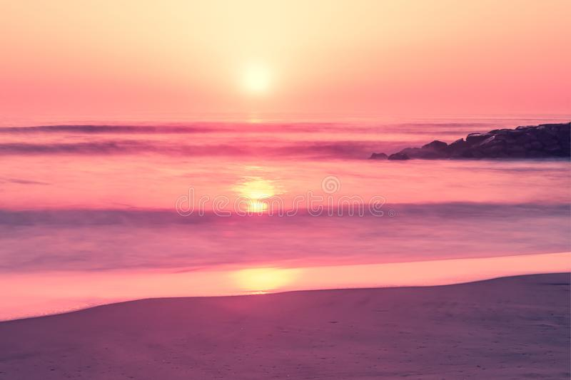 A sunset at Furadouro beach, Ovar, Aveiro region of Portugal.  royalty free stock photography