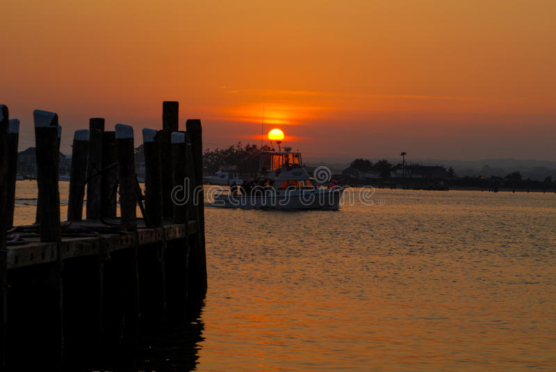 Sunset at Galilee, Narragansett, RI. Another day ends as the fishing vessels have returned to dock in Galilee, Narragansett, Rhode Island royalty free stock photography