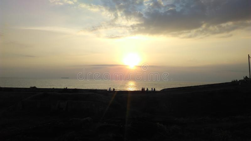 Sunset at galle fort in the evening stock photography