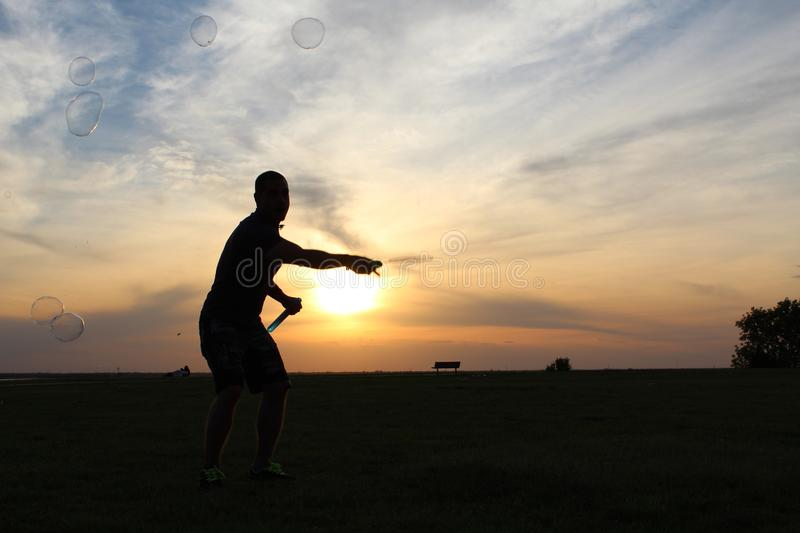 Sunset games royalty free stock photography