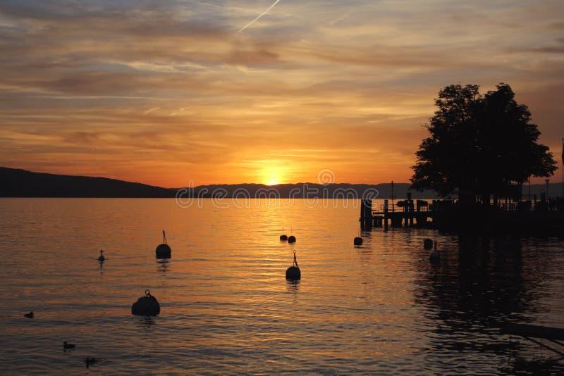 Sunset at Geneva Lake. Switzerland stock images