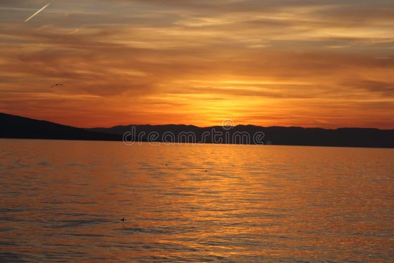 Sunset at Geneva Lake. Switzerland stock photos