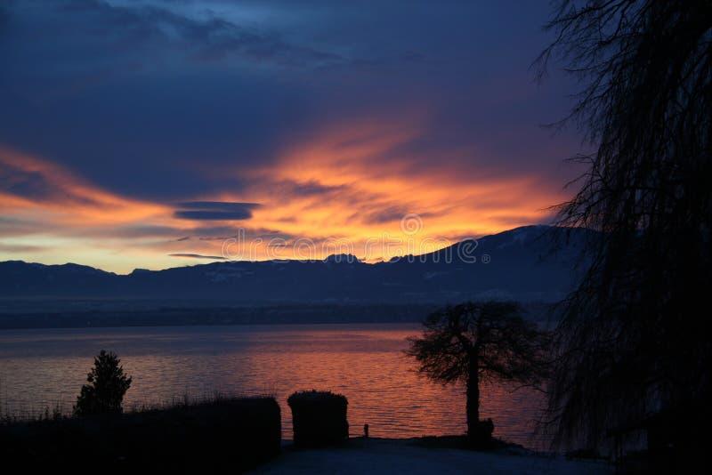 Sunset geneva lake leman. Sunset on the leman lake stock image