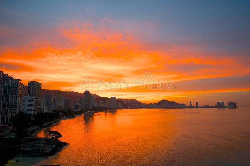 Sunset in Georgetown, Malaysia. View of sunset over Georgetown Penang, Malaysia royalty free stock image