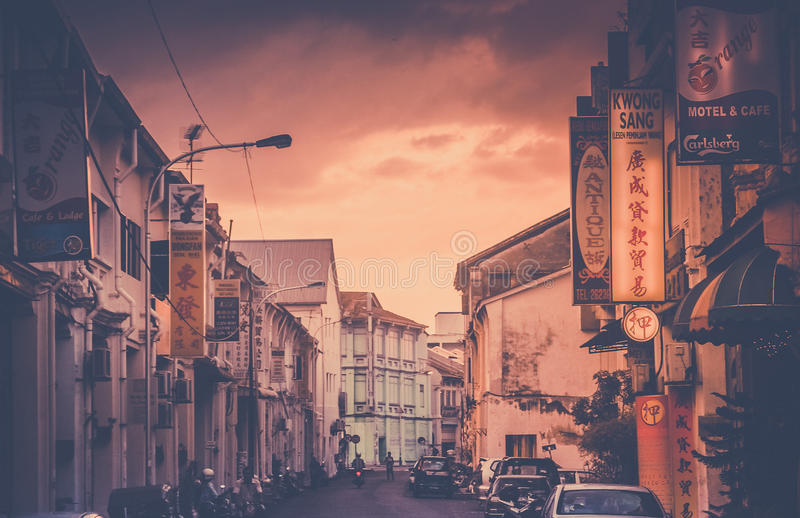 Sunset in Georgetown. ( Penang ) in Malaysia royalty free stock photo