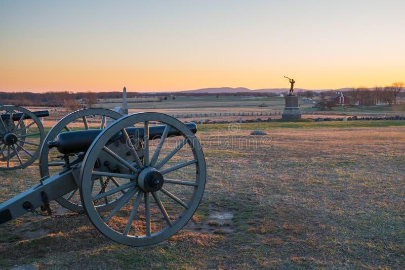 Sunset at Gettysburg National Battlefield. Cannons at Sunset on Gettysburg National Battlefield royalty free stock photo