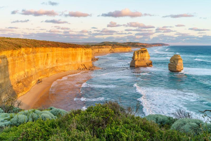 Sunset at gibson steps, great ocean road at port campbell, australia 35. Sunset at gibson steps, twelve apostles marine national park at great ocean road at port royalty free stock images