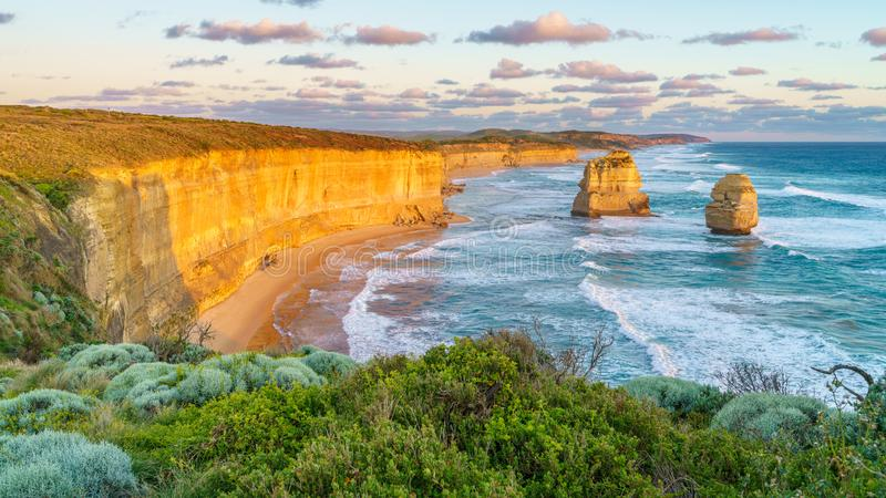 Sunset at gibson steps, great ocean road at port campbell, australia 37. Sunset at gibson steps, twelve apostles marine national park at great ocean road at port royalty free stock photography