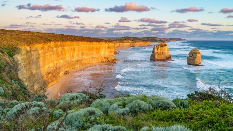 Sunset at gibson steps, great ocean road at port campbell, australia 44. Sunset at gibson steps, twelve apostles marine national park at great ocean road at port stock images
