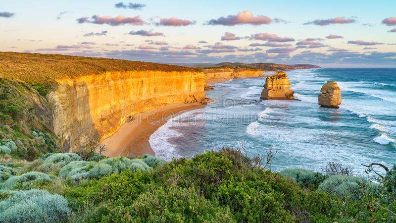Sunset at gibson steps, great ocean road at port campbell, australia 41. Sunset at gibson steps, twelve apostles marine national park at great ocean road at port royalty free stock photography