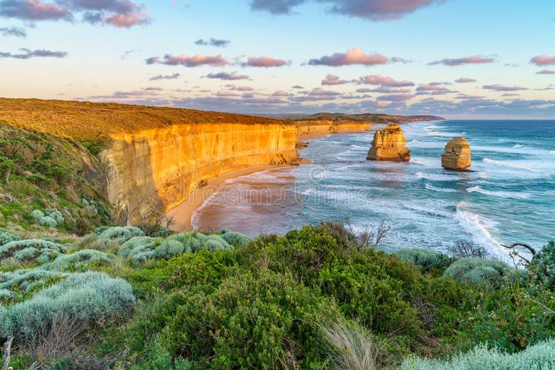 Sunset at gibson steps, great ocean road at port campbell, australia 38. Sunset at gibson steps, twelve apostles marine national park at great ocean road at port royalty free stock photos