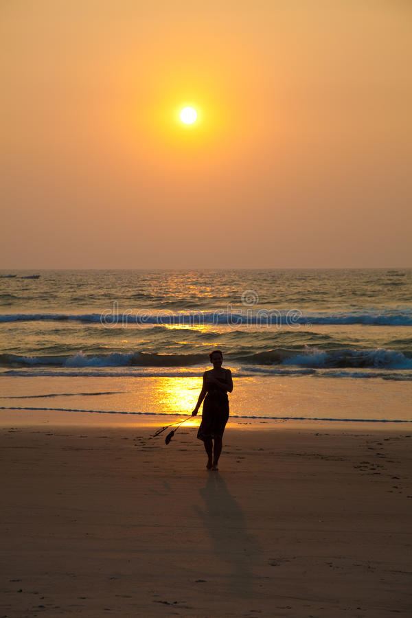 Download Sunset and girl stock image. Image of night, relaxation - 12561531
