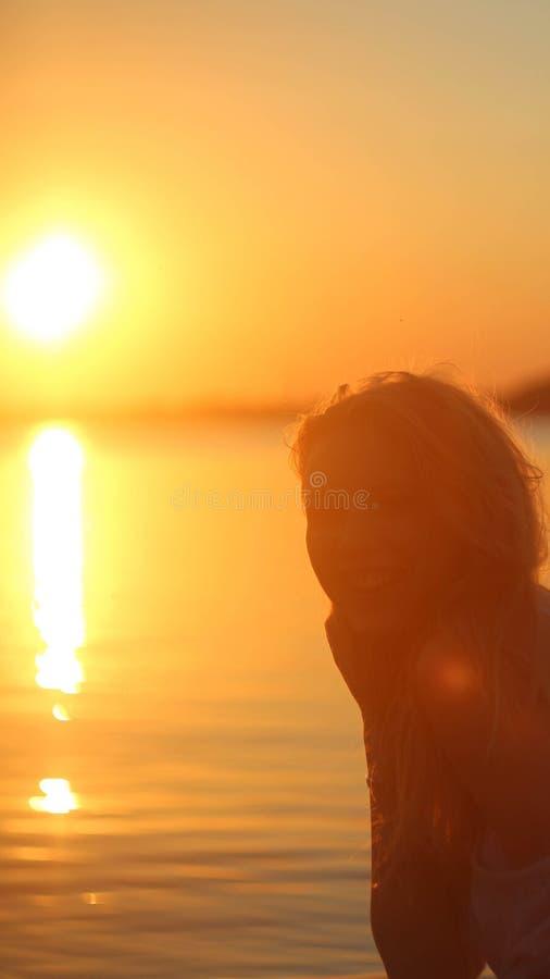Sunset girl stock image