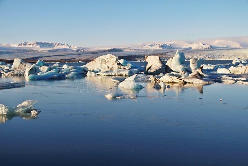 Sunset at glacier lagoon royalty free stock photography