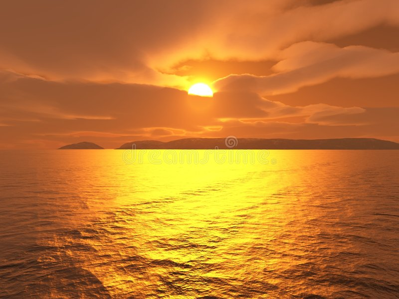 Sunset Glow. Digital render of a glowing sunset over distant islands royalty free illustration