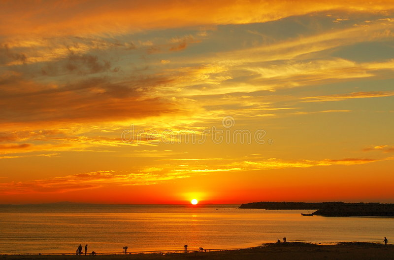 Sunset glow in sea level sky. When sunset, sunset glow in sea level sky, very magnificent beautiful royalty free stock image