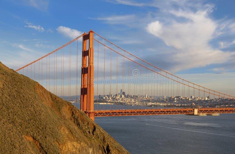 The Golden Gate Bridge. Sunset at the Golden Gate Bridge in San Francisco, California stock image