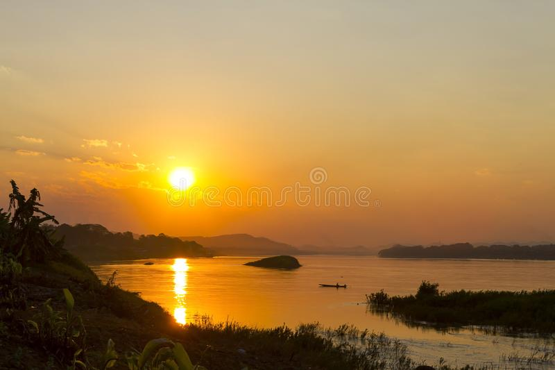 Sunset with golden light and shadow in evening royalty free stock photography