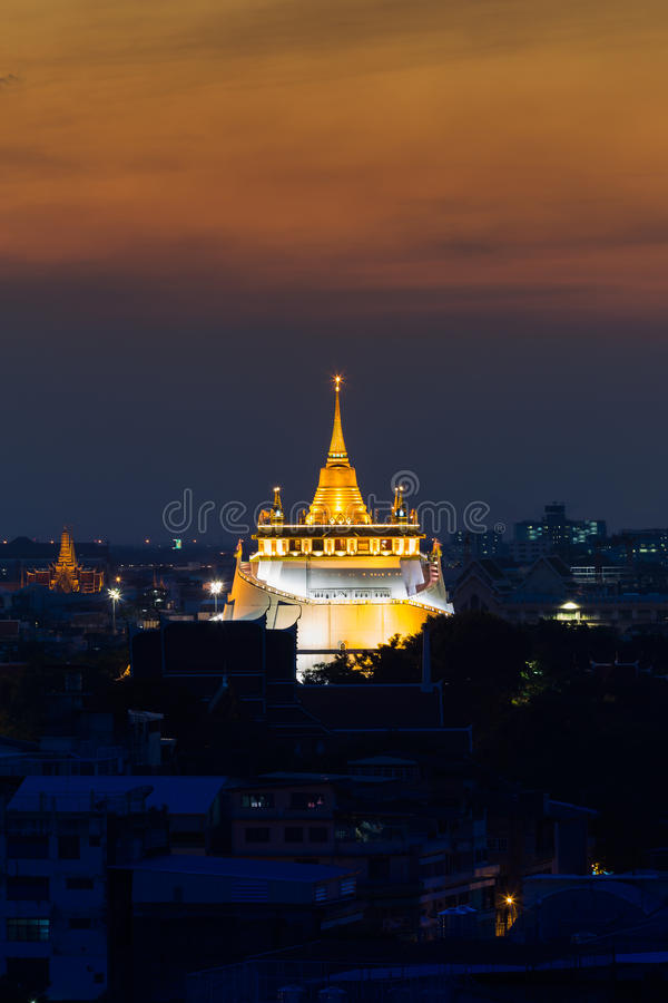 Sunset at Golden Mount Temple. Golden Mount Temple the most travel Landmark of Bangkok Thailand during sunset royalty free stock photo