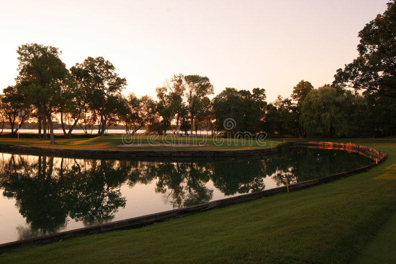 Download Sunset Golf stock image. Image of reflection, scenic, trees - 1739519