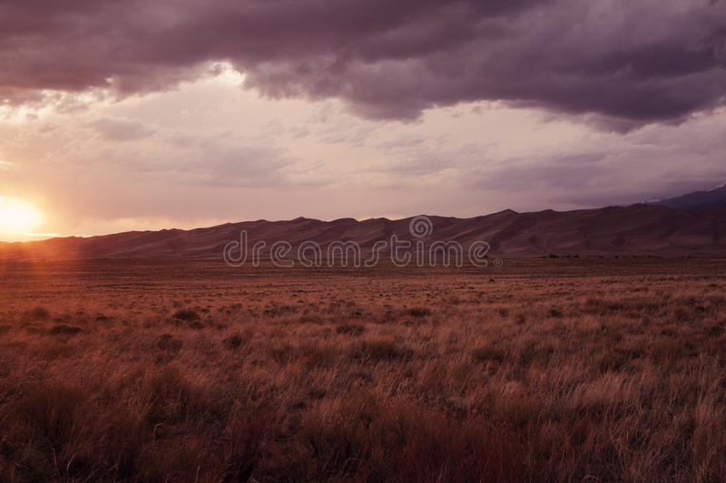 Sunset in Great Sand Dunes National Park. Colorado, USA stock photo