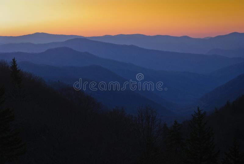Sunset at Great Smoky Mountains National Park stock photo
