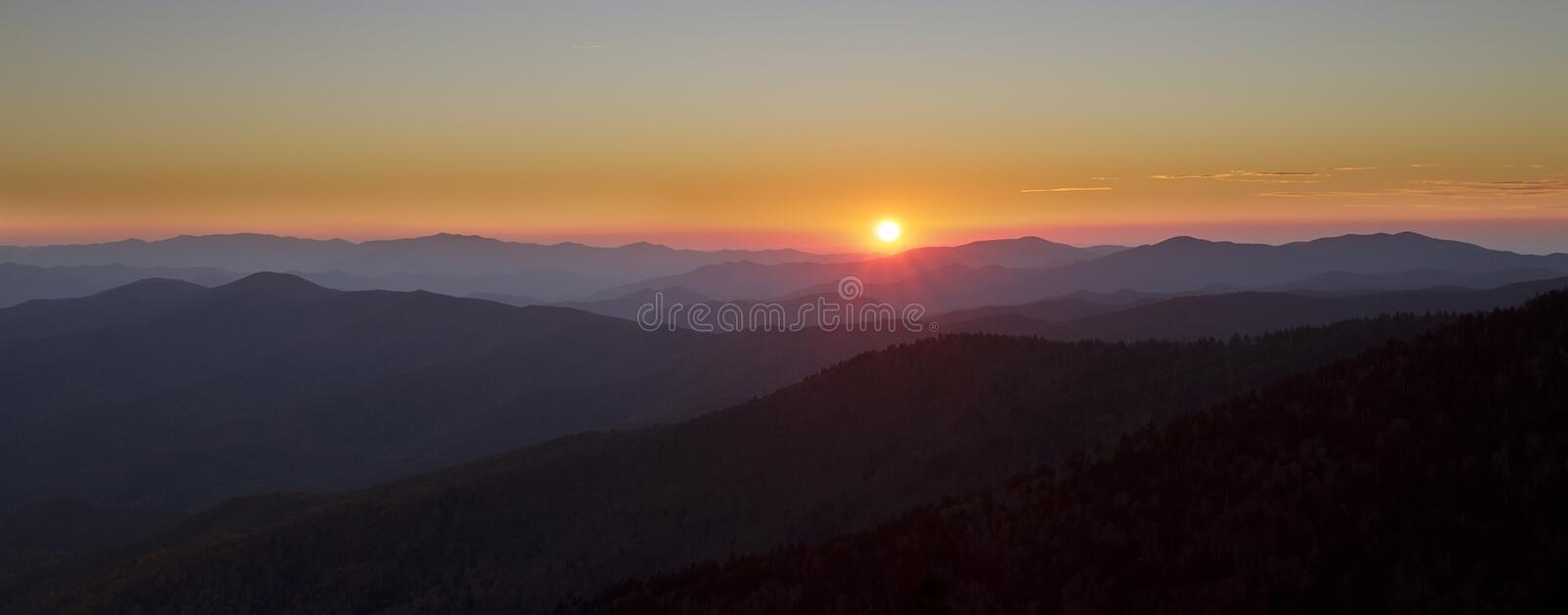 Sunset in Great Smoky Mountains National Park Pano royalty free stock images