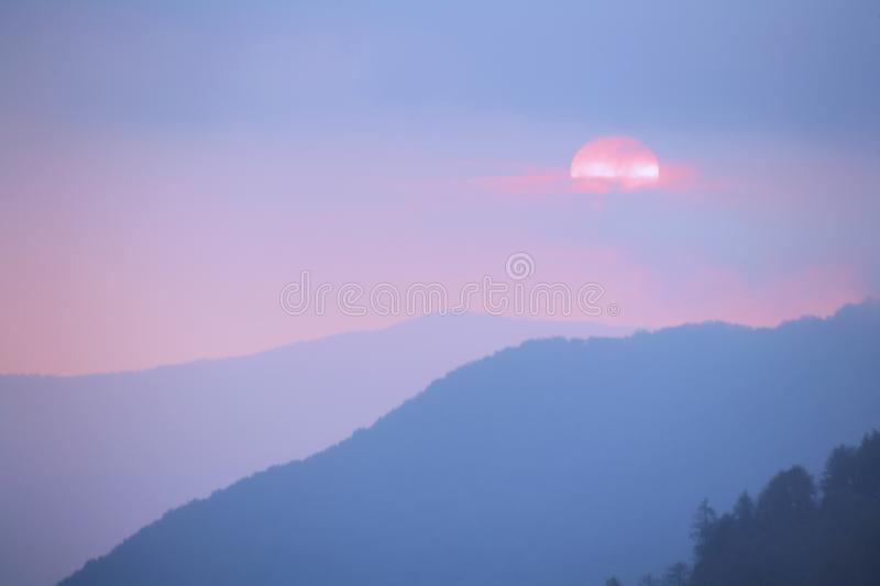 Sunset in the Smoky Mountains National Park, Tennessee, USA royalty free stock image